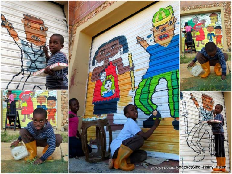 "Yoga Drawing in Swaziland. ""Paint with Love.Paint Instead of Pain."""